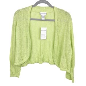 NEW Soft Surroundings Bright Green Lightweight Open Knit Cropped Cardigan Large